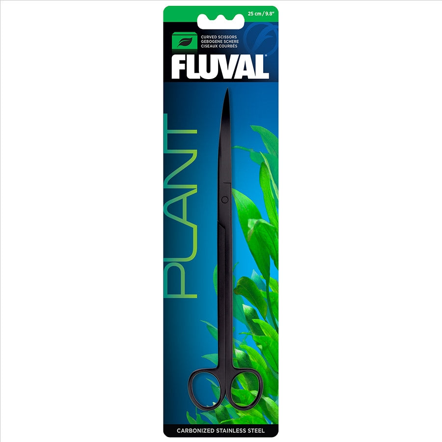 Fluval S Curved Planter Scissors - 25cm Carbonised Stainless Steel