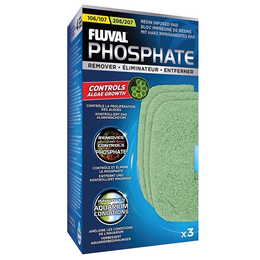 Fluval Phosphate Remover 3 Pack Pad Foam for 106, 107, 206 and 207 Canister Filters