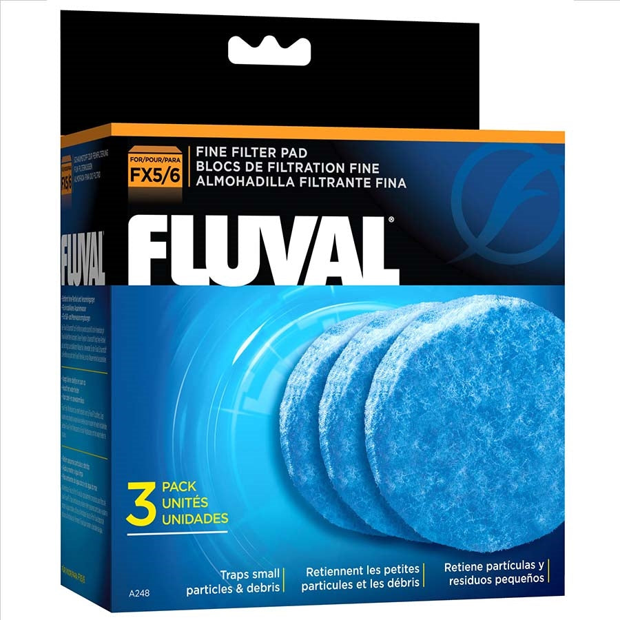 Fluval FX5/FX6 Fine Filter Pads (3 Pack) (Blue)