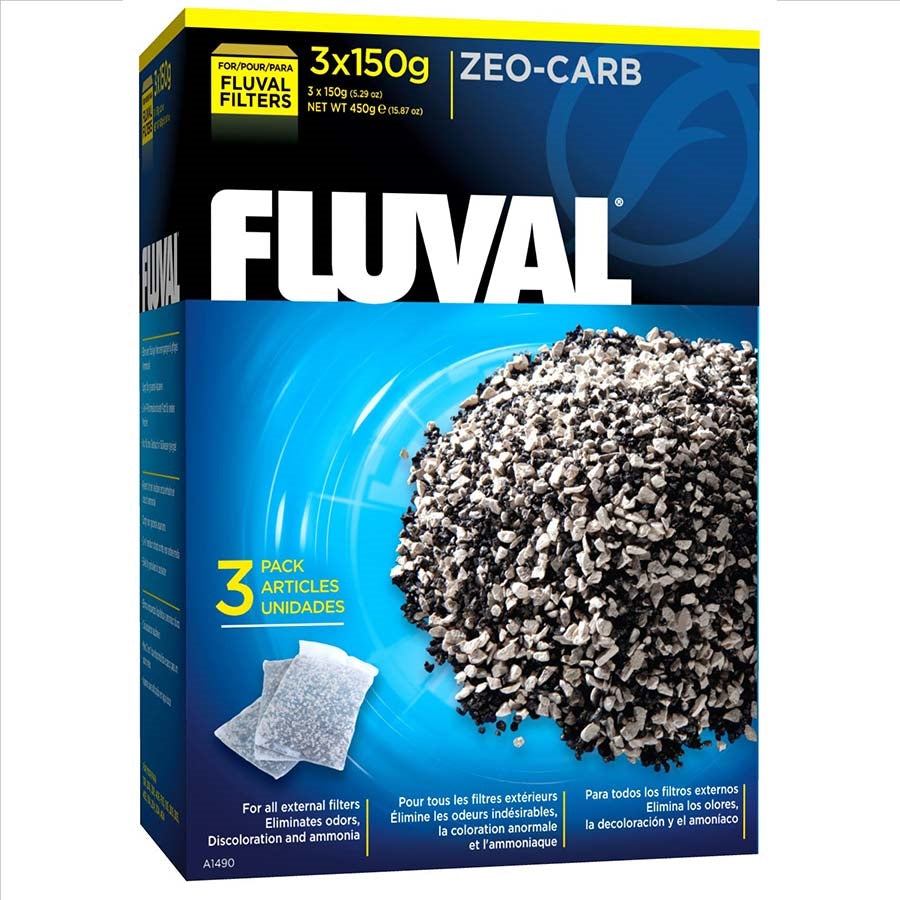 Fluval Zeo-Carb Media 3 x 150g Bags - Chemical Filtration
