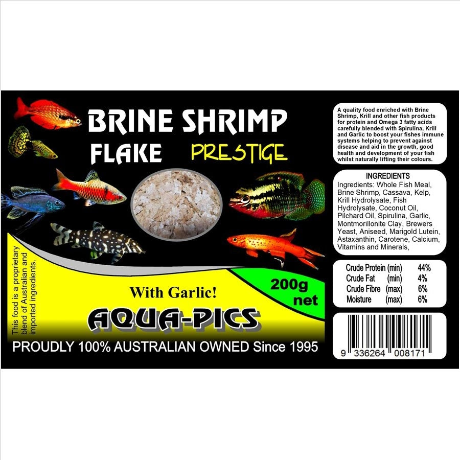 Aqua-Pics Brine Shrimp Flake Food 200g With Garlic