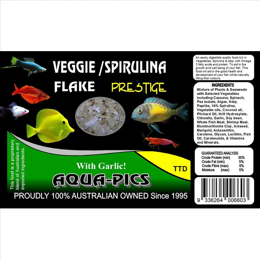 Aqua-Pics Veggie and Spirulina Flake Food 100g