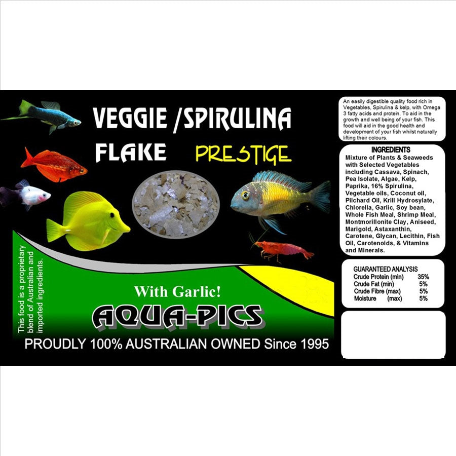 Aqua-Pics Veggie and Spirulina Flake Food 200g