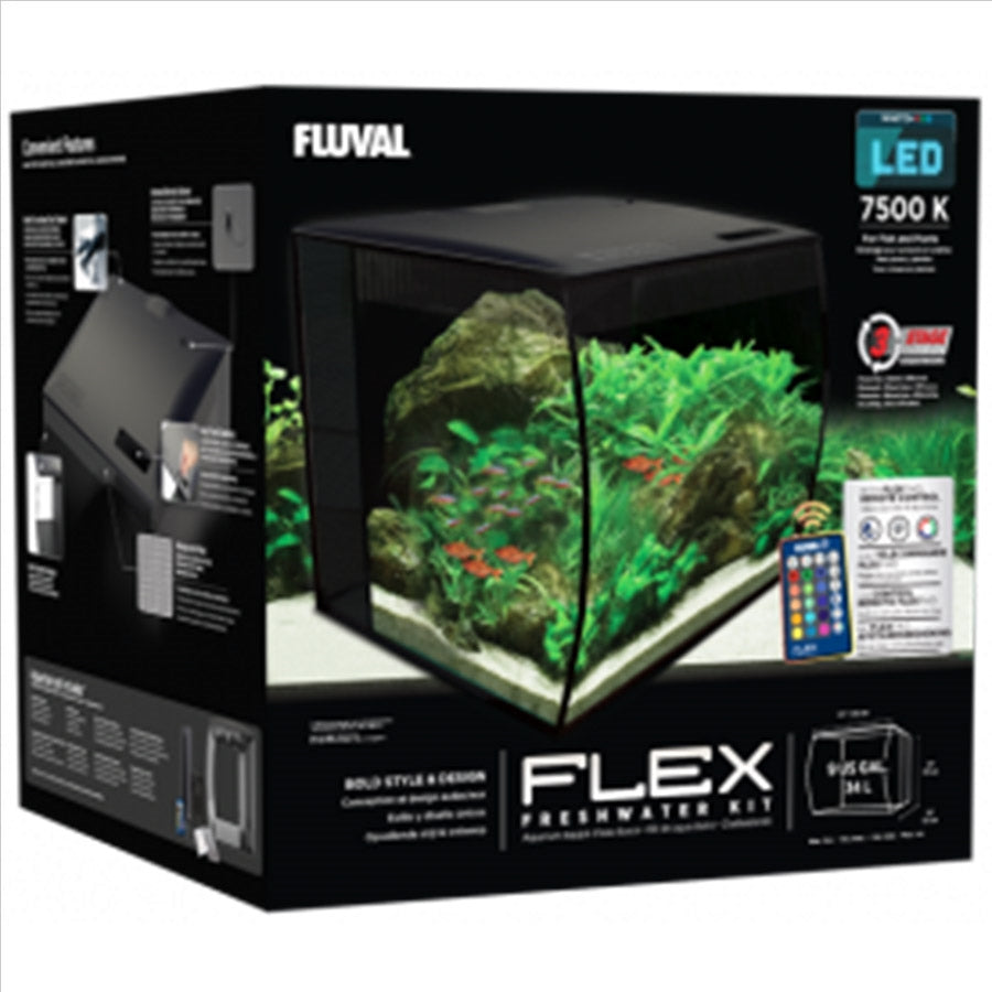 Fluval Flex 34l Black Aquarium Plug and Play with Remote Light