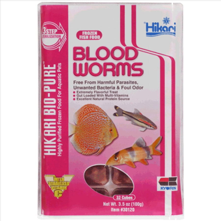 Hikari Bio Pure Blood Worms 100g - 32 Cubes (Frozen - Can not be delivered)