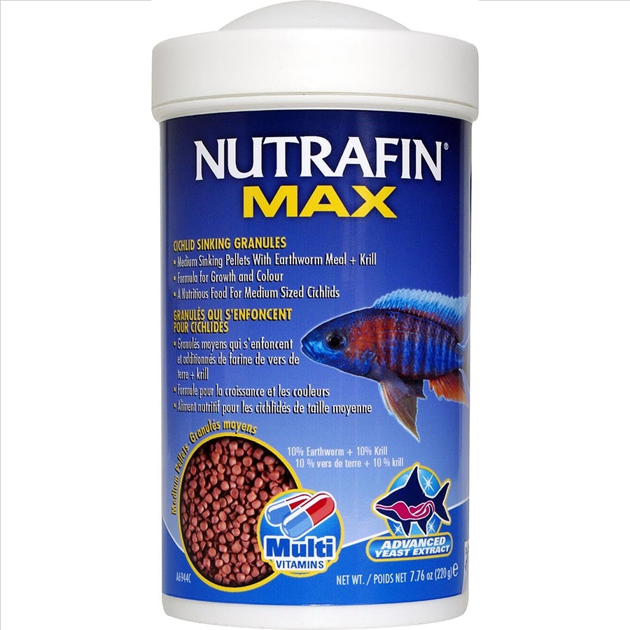Nutrafin Max Cichlid Medium Sinking Granules 220g Fish Food