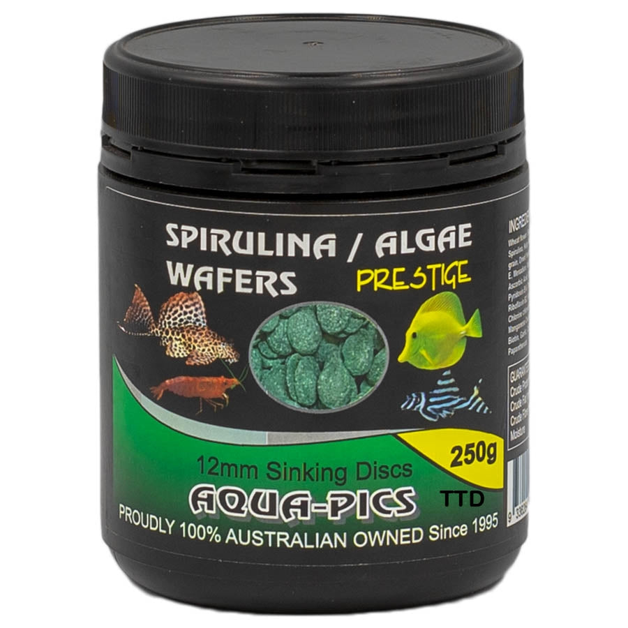 Aqua-Pics Spirulina Wafers 12mm Discs 250g (600ml tub)