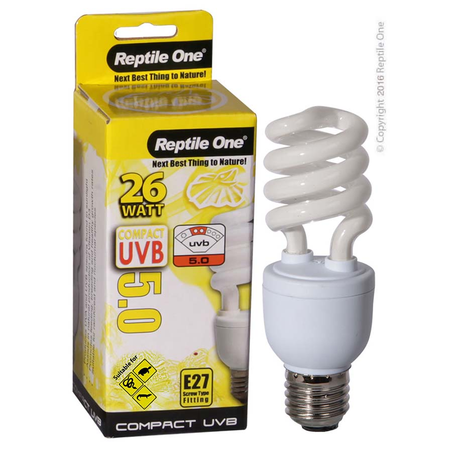 Reptile One Compact UVB Bulb 26W UVB 5.0 E27 Fitting