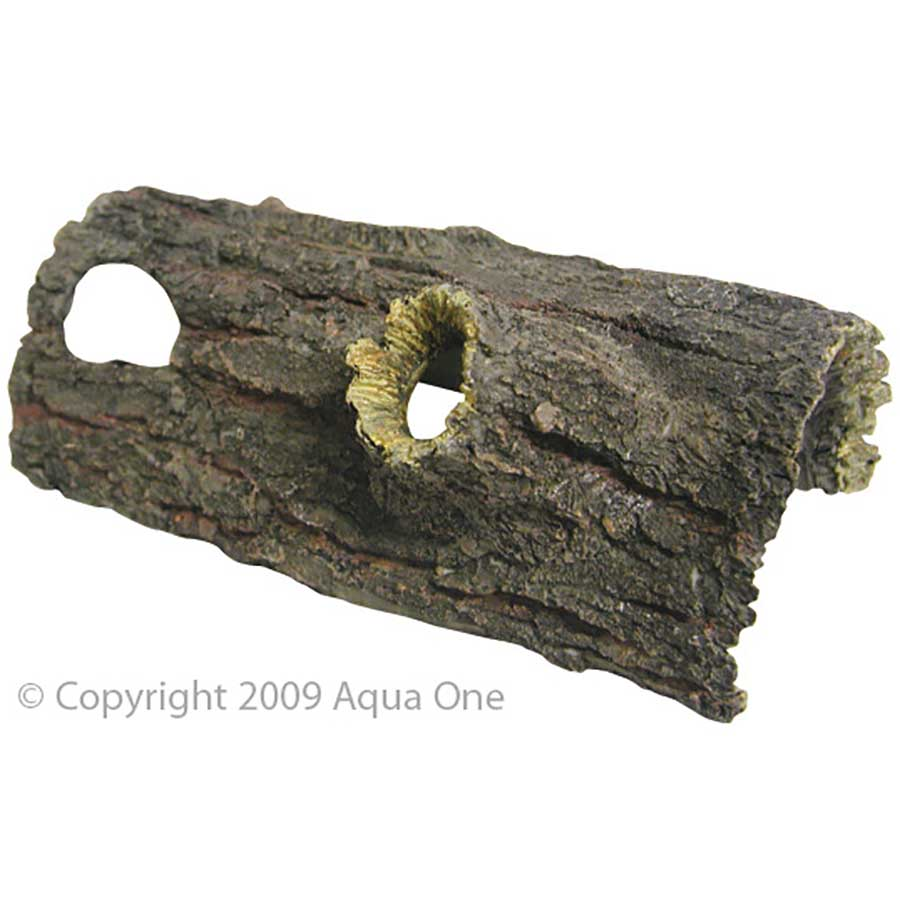 Reptile One Ornament Log With Holes Sm 21x10.5x8cm