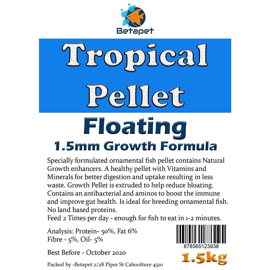 Betapet Tropical Pellet 1.5kg (1.5mm Size Floating Pellet)
