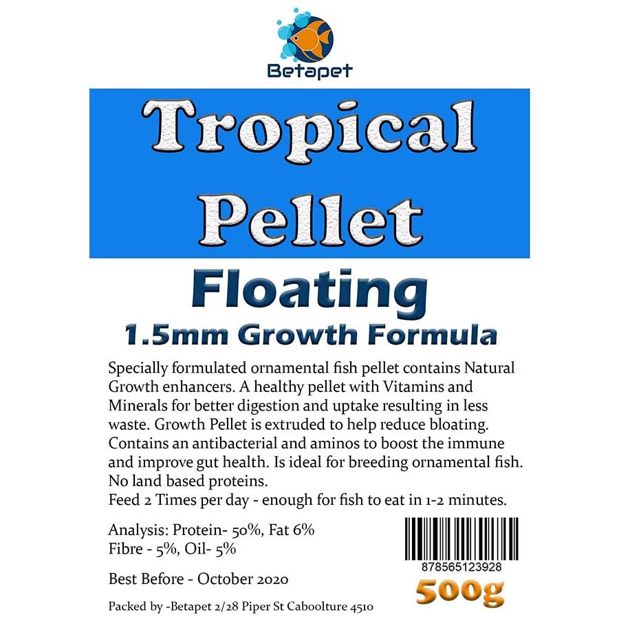 Betapet Tropical Pellet 500g (1.5mm Size Floating Pellet)