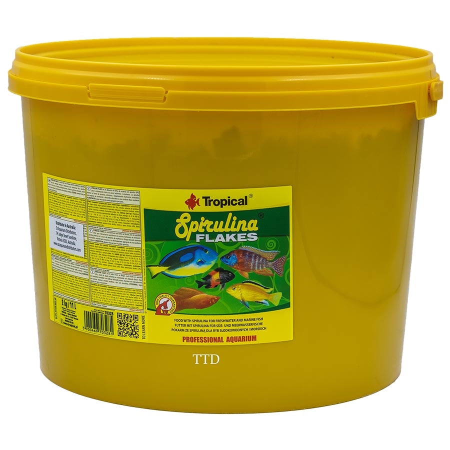Tropical Spirulina Flakes 11 litres 2kg Fish Food