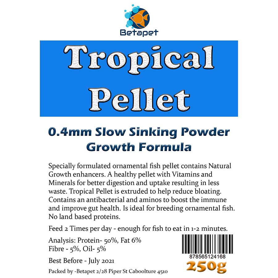 Betapet Tropical Pellet 250g (0.4mm Size Slow Sinking Powder)