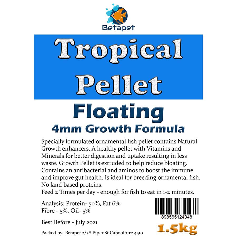 Betapet Tropical Pellet 1.5kg (4mm Size Floating Pellet)