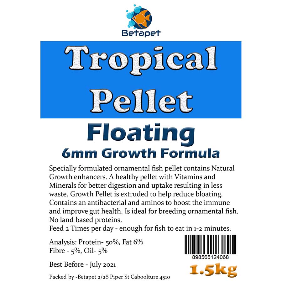 Betapet Tropical Pellet 1.5kg (6mm Size Floating Pellet)