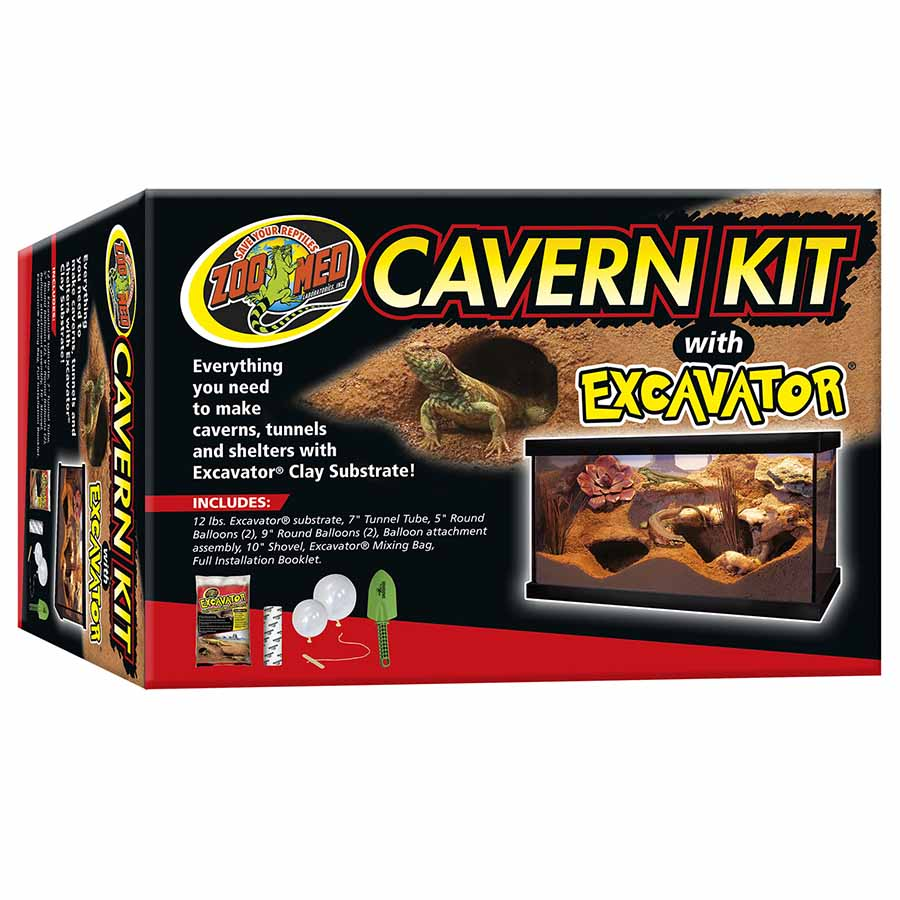 Zoo Med Cavern Kit with Excavator Clay Burrowing Substrate 12lb- 5.4kg