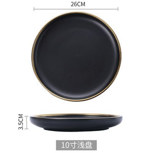 White And Black Round Gold Dinner Plate