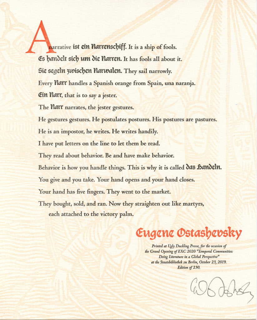 """A narrative is ein narrenschiff..."" by Eugene Ostaschevsky (broadside)"
