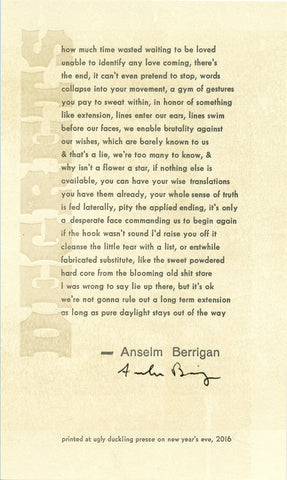 DEGRETS by Anselm Berrigan (broadside)