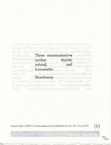 """THREE COMMUNICATIVE MODES"" by Ed Steck (broadside)"