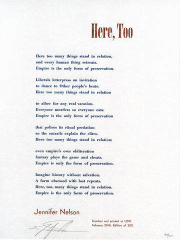 HERE, TOO by Jennifer Nelson (broadside)