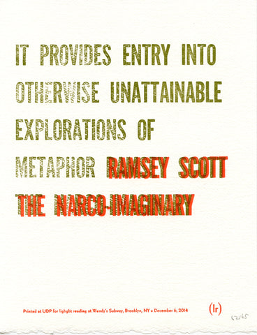 """IT PROVIDES ENTRY..."" by Ramsey Scott (broadside)"