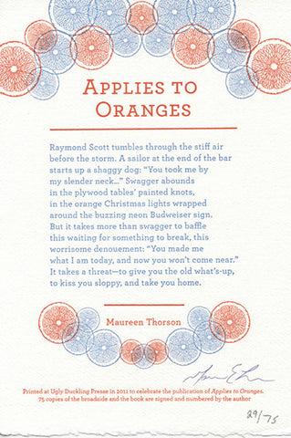 APPLIES TO ORANGES SPECIAL EDITION by Maureen Thorson