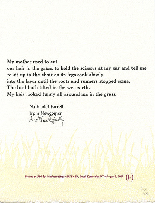 MY MOTHER USED TO CUT by Nathaniel Farrell (broadside)