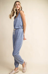 French Terry Criss Cross Back Casual Jumpsuit, Lt Blue