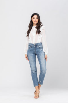 Judy Blue Double Waistband Highwaisted Relaxed Fit Jeans, Medium Wash