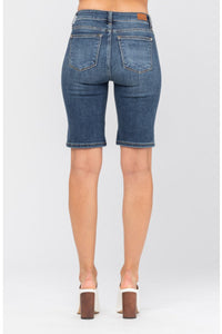 Judy Blue Button Fly Bermuda Denim Shorts, Dark Wash