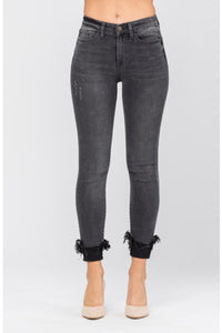 Judy Blue Destroyed Hem Cuff Skinny Jean, Black