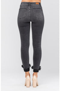 (Curvy) Judy Blue Destroyed Hem Cuff Skinny Jean, Black