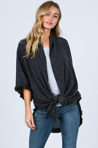Crushin' on Cozy Ruffled Hem Brushed Knit Kimono, Charcoal