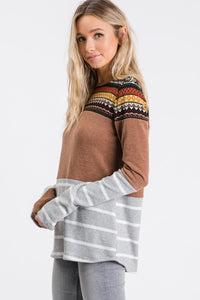 Mixed Feelings Pattern Block Top, Camel