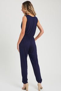Solid V-Neck Sleeveless Jersey Jumpsuit w/ Pockets, Navy