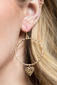 Hammered Metal Hoop & Heart Charm Earrings (Gold or Silver)