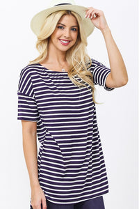 Loose Fit Short Sleeve Stripe Top, Navy/Ivory