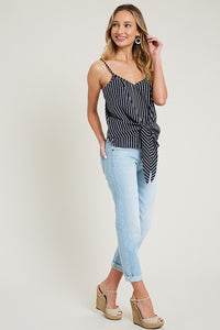 Stripe Print Front Tie Closure Woven Cami Top, Navy