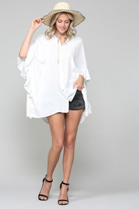 Oversized Ruffle Side Button Front Tunic Blouse, White