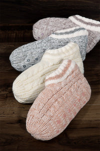 Cozy Toes Cable Knit and Fur Slipper Boot, Blush