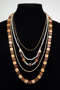 Multi-Layered Wood Glass Metal Bead Necklace, Brown