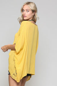 Lace Trim Poncho Top, Mustard