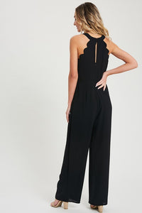 Solid Scallop Trim Halter Jumpsuit, Black