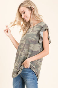 Snatch It Up Ruffle Sleeve Camo Print Top (S-XL), Olive