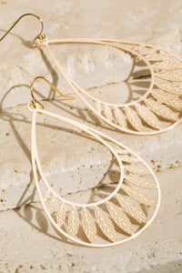 Brass Filigree Leaf Teardrop Earrings, Gold