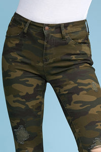 Judy Blue Camo Distressed Skinny Jeans, Olive