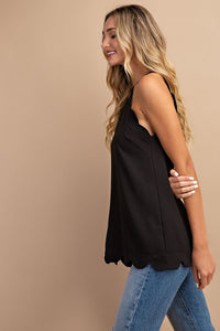 Scallop Edge Halter Cami Blouse, Black