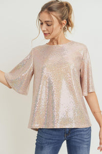 Luxe Sparkly Sequin Bell Sleeve Top, Rose