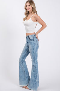 Acid Wash Bell Bottom Jeans w/ Frayed Hem Detail